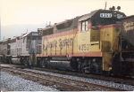 GP35 4353 seen  in trail on a hopper train leaving town