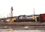 "GP40-2 6010 sits adjacent to the Oak island service tracks at ""91 Bay"""
