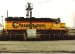 Chessie(now CSXT) GP40-2 6075 takes a spin on the Oak Island turntable