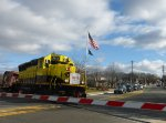 NYSW Toys For Tots train passing through Franklin Avenue