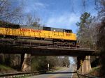 UP 8023 crossing the old ACL/RR highway trestle