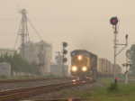 UP 8044 has a foggy arrival