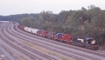 SB freight emerging out of Brosnan Yard