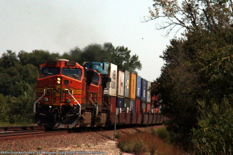 Parting shot of tail end of stack train.