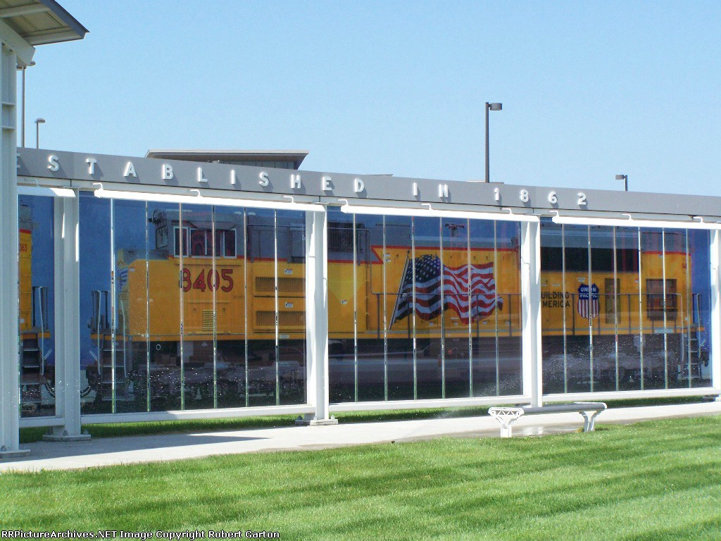 A Mural of UP 8405 Made up of Several Photos Is Part of the Display at the Former UP Omaha Shops; Now Home to the Qwest Center