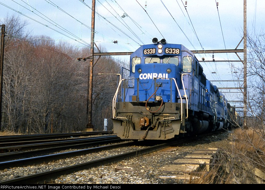 CR SD-40 #6338 leads a westbound