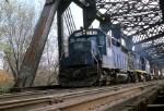 B&M GP-40 #342 (ex CR) brings a train across the bridge