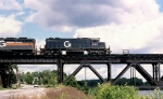 B&M SD-39 # 690 (ex N&W, exx IT) is about to cross the Hudson with an eastbound