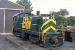BR&W T-6 #56 sits outside the shop building