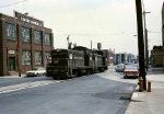 Penn Central NW-2 #8800 is workin' the streets on Tioga Street near Trenton Avenue
