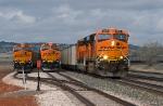 Three BNSF eastbound coal trains