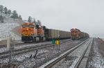 BNSF 6224 East returns to the mines as a coal load waits on the adjacent main