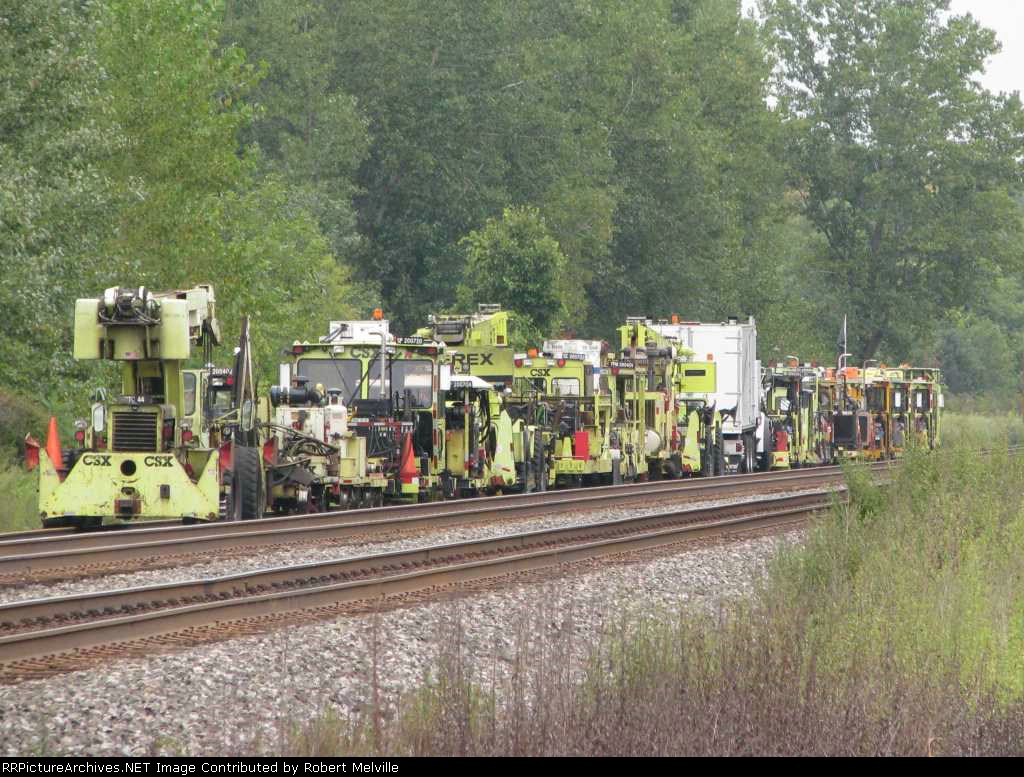 CWR equipment stored in the controlled siding at CP 382 for day off