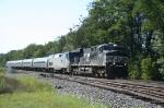 NS 7634 leads Amtrak