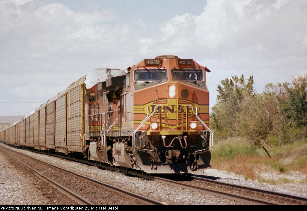 BNSF C44-9W #4619 leads an eastbound auto rack train at Impala Road