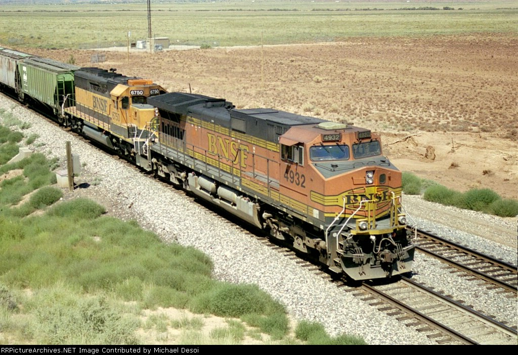 BNSF C44-9W is the DPU on this westbound grain train at the Old Route 66 OHB