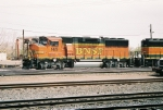 BNSF GP-60M #145 leads a freight out of the yard