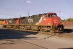CN C44-9W #2616 drifts back into the yard after setting out a bad order car