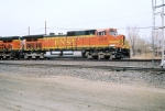 BNSF C44-9W#4516 leads a westbound out of the yard at Ross Ave.