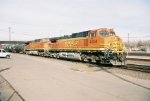 BNSF C44-9W #4804 is the DPU on this westbound leaving the yard