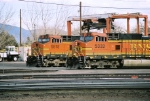 Vieing for the lead, BNSF C44-9W's 5332 & 5518 wait to leave the yard westbound