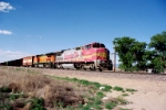 BNSF B40-8 #542 leads a southbound (to Belen) at Rio Bravo Blvd.