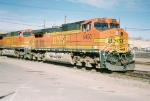 BNSF C44-9W #5490 is the DPU on this westbound leaving the yard