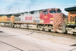 Patchjob BNSF C44-9W #749 is in the middle of a westbound consist leaving the yard