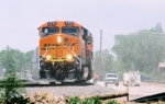 BNSF ES-44DC #7619 leads this eastbound into the yard at Ross Ave.