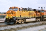 BNSF ES-44DC #7783 leads a westbound out of the yard.