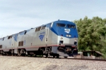 AMTK P-42DC #93 brings the westbound Southwest Chief into Albuquerque at Claremont Rd.