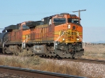 BNSF 5029 heads an eastboud oil train