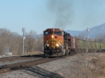 BNSF 4737 heads a westbound grain train at Jarales Rd.