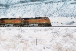 BNSF 5266 leads a westbound after a somewhat rare and not very long lasting March snowfall