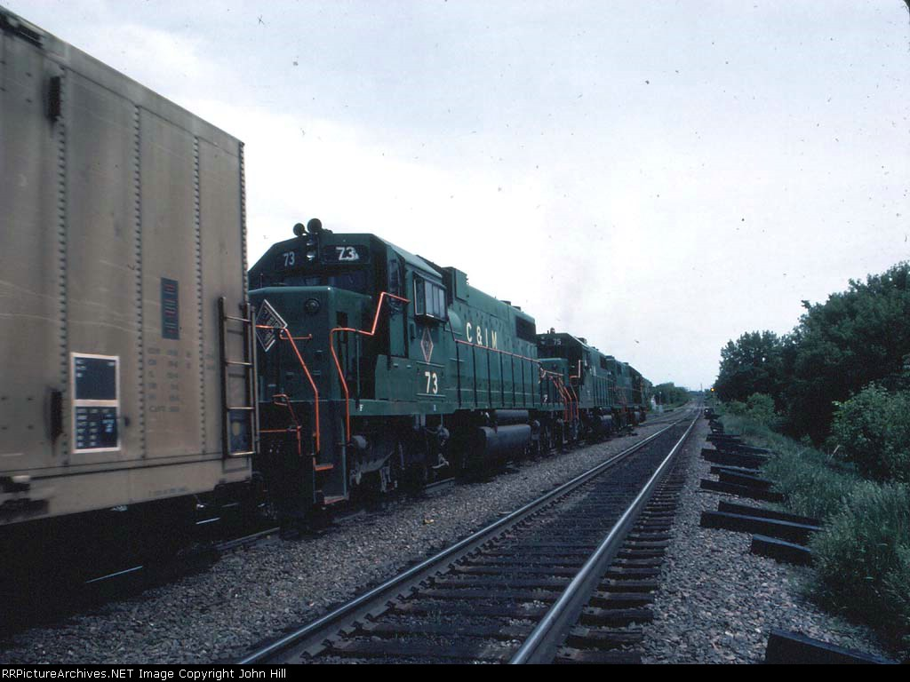 1234-36 Eastbound BN freight with C&IM power passes ex-NP East Minneapolis Yard