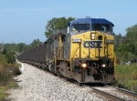CSX 9049 leads N904-27 eastward with coal empties