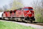 CP AC-4400CW#9625 leads an eastbound at the Battery Test Curve