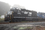 NS 5663 sits in the eraly morning fog in the yard