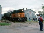 """1248-30a Southbound MILW """"Little I&M"""" passes freight house on day of NP 328 Northfield special"""