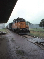 """1248-36 Northbound MILW """"Little I&M"""" passes depot on day of NP 328 Northfield special"""