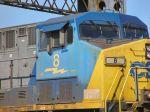 Closeup of CSX 8 leading eastbound coal train