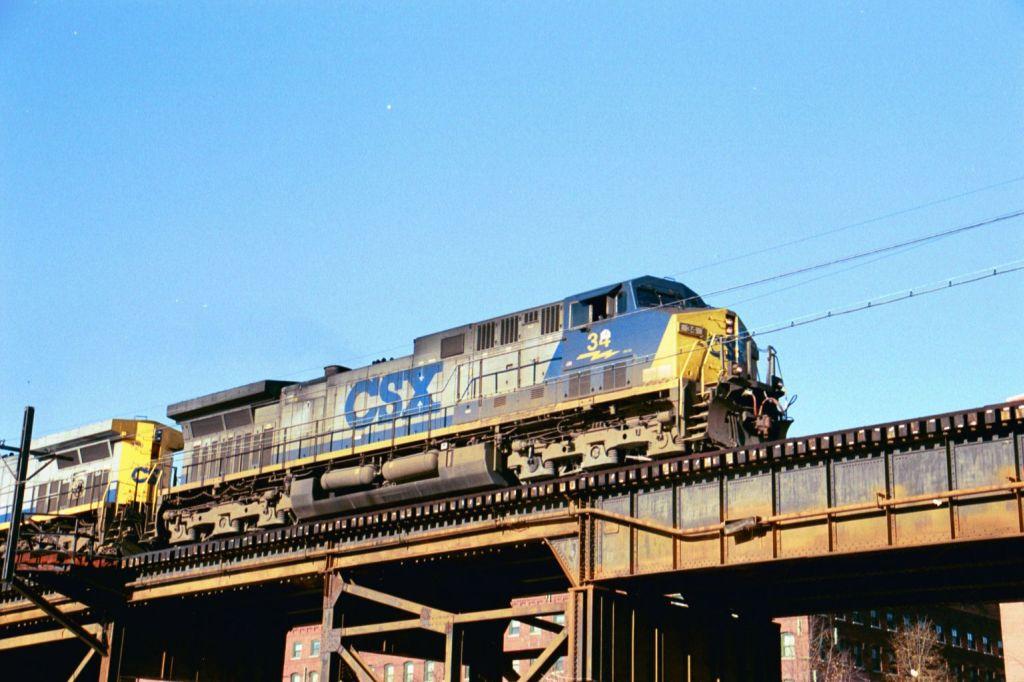CSX 34 leads a coal train across the C&O viaduct
