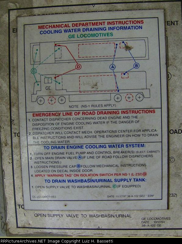 Cooling Water Draining Information