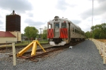 The first train on the new siding