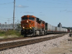 BNSF 7408 leads a solid cut of MRS cars