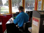 Operator of car #2023 as we head toward the Mississippi River on Canal Street