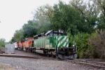BNSF 7062 WB freight crossing over the KCS ex GWWR.