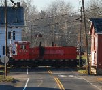 BRW 8159, ex-CP 8159, crosses BR&W's Main Street grade crossing
