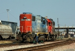 CN #5825 remote control locomotive switching the CN/IC north Jackson yard