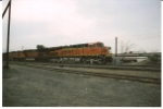 BNSF 7401 gets closer to her crew change as she rolls east into the UP Sparks yard.